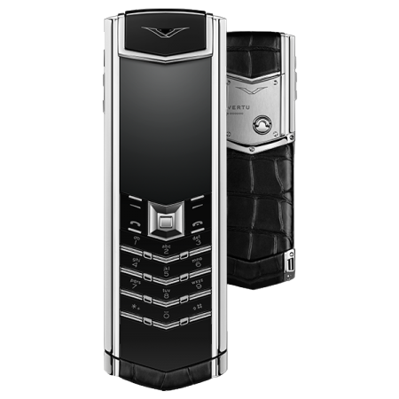 VERTU SIGNATURE S DESIGN BLACK ALLIGATOR STAINLESS STEEL